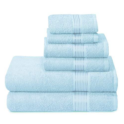 GLAMBURG Juego de 6 Toallas de algodón Ultra Suaves, Contiene 2 Toallas de baño de 70 x 140 cm, 2...