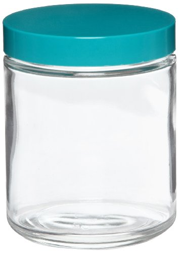 Qorpak GLC-01634 Clear Glass Round 120mL Type III Straight Sided Jar, with Green Thermoset F217 and PTFE Lined Cap (Case of 24)