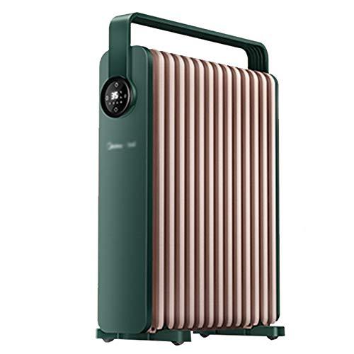 LBXZ Radiador Eléctrico Radiadores llenos de Aceite Calentadores de 13 Capas Calentador eléctrico portátil de Interior, para Uso en la Sala Radiador Espacial Lleno de Aceite (Color : Green)
