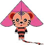 Gaojian Los niños de Dibujos Animados Tigre Cometa con la Cadena fácil de Volar la Cometa por Adultos Parque de la Playa para niños al Aire Libre,Rojo