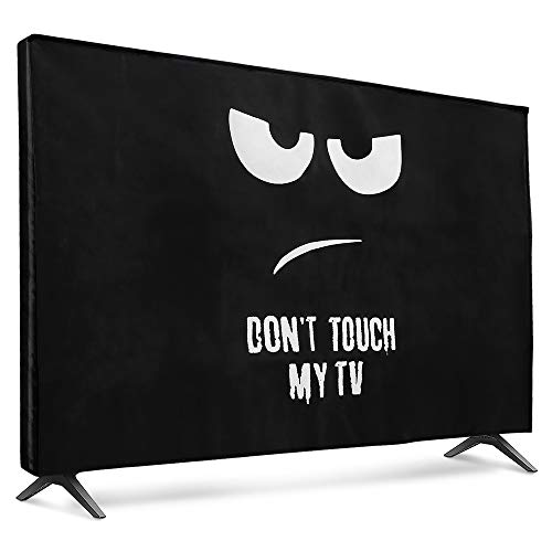 "kwmobile Funda para Monitor 49-50"" TV - Cubierta Protectora No toques mi TV en Blanco/Negro"