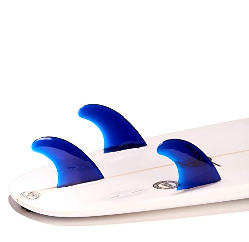 DORSAL Performance Flexrez Core Surfboard Thruster Surf Fins (3) FCS Compatible Blue 4 FOIL TYPE: Flat IFT - This exclusive foiling is designed to increase interior laminar flow (Hold), and decrease turbulent flow (Drag). These Foils work on a wider range or angle of attack which means you'll hold more speed through turns. Dorsal's Foiling designed on fluid dynamics research from our nautical research lab. SIZE: Medium / WEIGHT RANGE: 105 - 205 lbs / 50 - 84 kg / BASE: 4.45 inch / 11.3 cm; HEIGHT: 4.40 inch / 11.2 cm; AREA: 15.05 sq inch / 97.1 sq cm; SWEEP: 39.1 Degrees SOLID FLEXCORE is a extremely high strength industrial grade resin that is stronger and lighter then standard fiberglass fins. The Flexrez Series are made by compressing super heated polycarbonate for diamond bond fusing, this allows for the maximum strength available while still acheiving optimum flex capabilities.