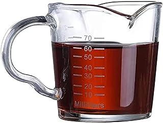 Espresso Measuring Cup, Coffee Glass Cup, Espresso Shot Glasses Measuring Cup 70ml Triple Pitcher Barista Double Spouts Wi...