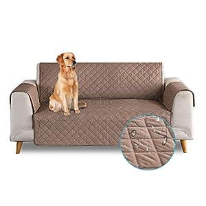 PETCUTE Funda de sofá 3 plazas Cubre Sofas Impermeable Protector de sofá Antideslizante Acolchado Sofas Fundas para Perros café