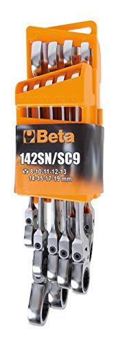 Beta 142SN/SC9 Juego de 9 llaves combinadas de carraca articuladas con soporte compacto