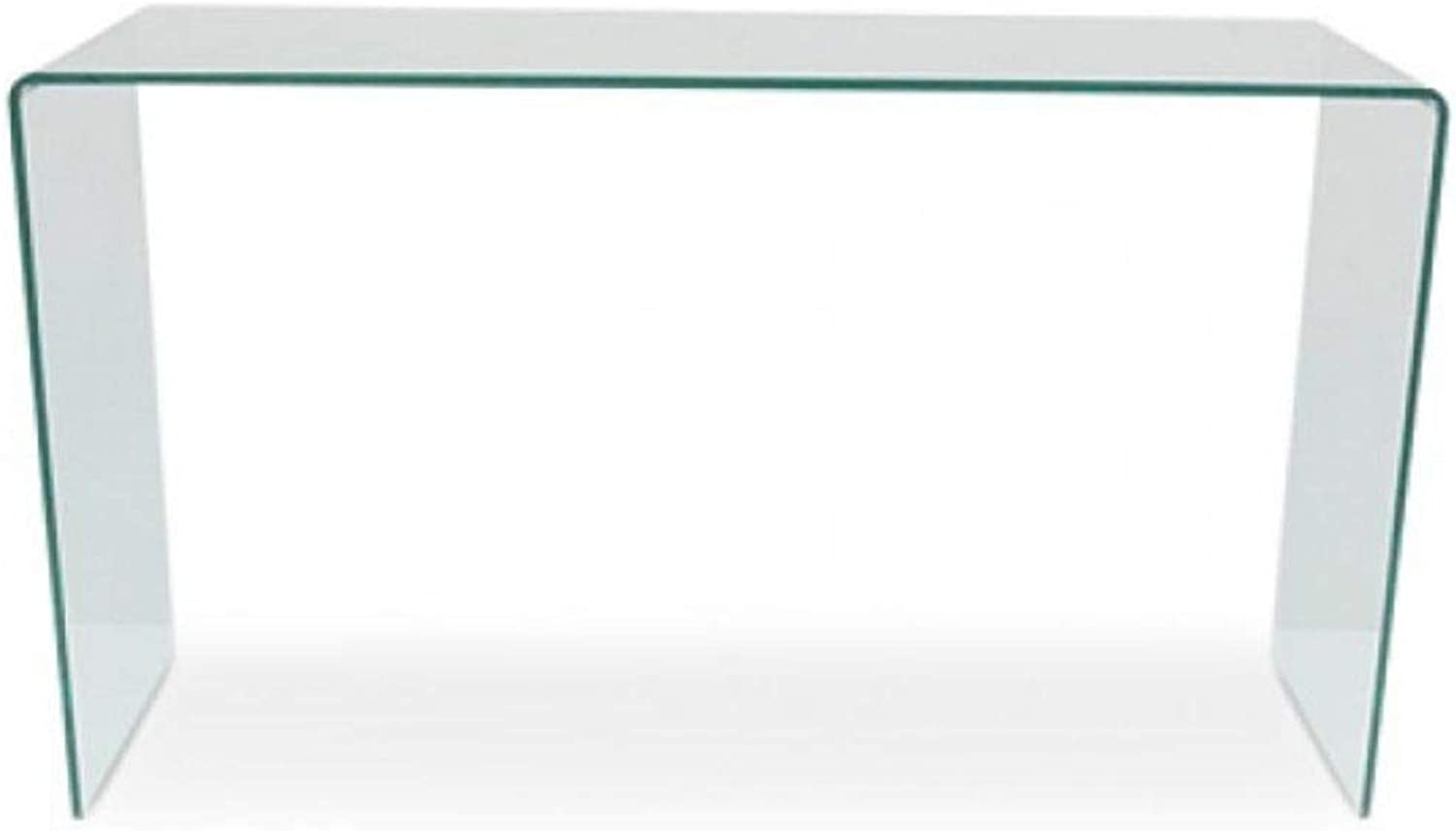 Take Me Home Furniture Waterfall Glass Console Table, Clear Glass Console Small in H30 X W30 X D8