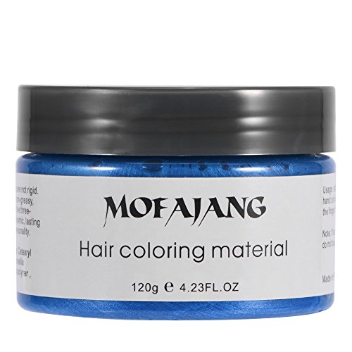 120 ml Wachs färben Haare, Wachs färben temporäre Haare, waschbare Behandlung mit Outfit den ganzen Tag, Haare färben Haare natürliche Frisur für Männer Frauen(Blau)
