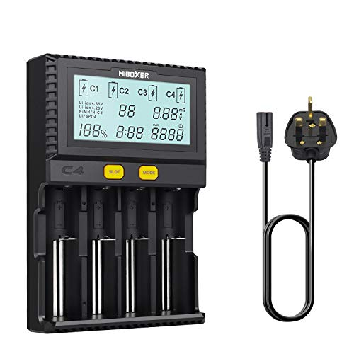 18650 Smart Battery Charger Universal Intelligent 4 Slot Automatic LCD Display for Li-ion Ni-MH...