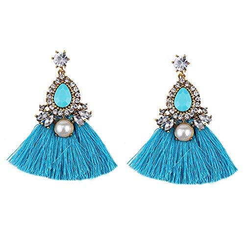 GGSDDU Pendientes retro con diamantes de imitación para mujer, con borla, con forma de gota, joyería para damas y niñas, regalo de día de San Valentín, fiesta de cumpleaños azul