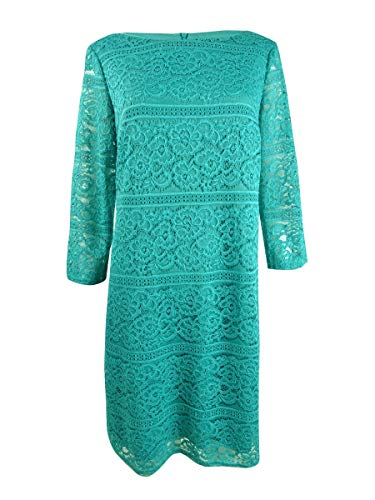 Jessica Howard Allover-Lace Sheath Dress Teal