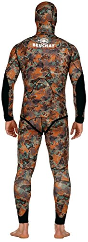 BEUCHAT Mundial Camo Brown 5 mm Wetsuit 2 Piece with Long John and Hood Jacket for Spearfishing Size Small