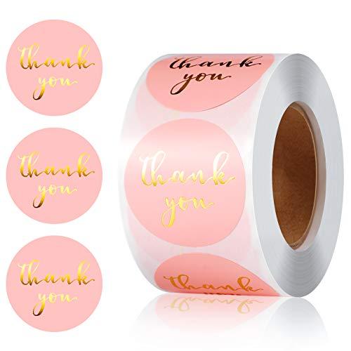 Vintoney Grazie Adesivi (Thank You) Adesivi per Autoadesivo per Fai-da-Te Fatti a Mano Soffitto Decorazione Regalo Artigianato 500 Pezzi Rosa