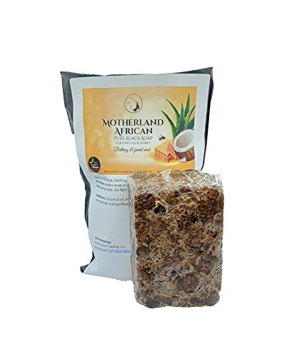 Motherland African Black Soap 1LB | Fights Acne and Stretchmarks | Face Scrub, hair, body, soothes Irritation | Safe for All Skin Types