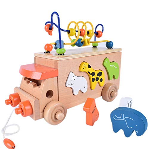 Best Buy! STOBOK Bead Maze Toy Pull Along Wooden Car Toy Circle Toy Wooden Early Educational Toys Wo...