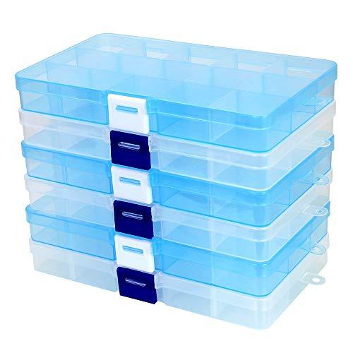CODIRATO 6Pcs Boîte de rangement à compartiments à 6 compartiments Boîte à bijoux en plastique Boîtes de tri transparentes pour bijoux, bagues, boucles d'oreilles, perles et autres gadgets