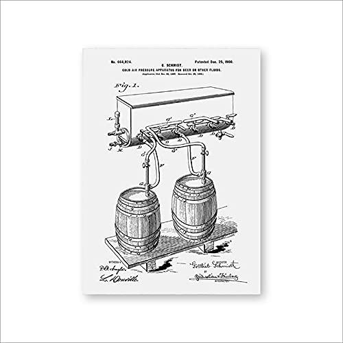 Barril de cerveza Grifo de presión de aire frío Impresiones de patentes Arte de la pared Carteles Decoración de la habitación Plano de la vendimia Lienzo regalo Cuadro de pintura Sin marco-E_50x70cm
