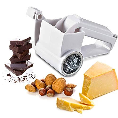 维罗纳夏季多用途旋转奶酪蔬菜刨丝切片机撕碎机包括3个独立的不锈钢鼓磨片或撕碎奶酪,蔬菜,巧克力和其他食物