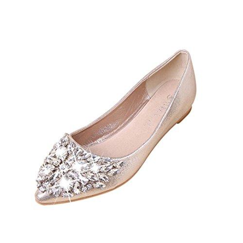 FNKDOR Damen Geschlossene Ballerinas Flache Pumps Strass Schuhe Klassische Damenschuhe(40,Gold)