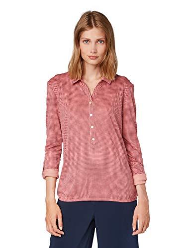TOM TAILOR Damen T-Shirts/Tops Gemustertes Blusenshirt red Rose Pepita Check,XXXL