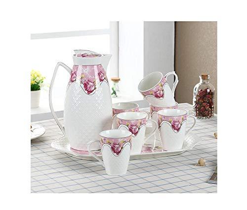 LUYIYI Juego de té de Estilo Europeo for la Taza de Agua, Sala de Estar, Juego de té en Relieve de Porcelana China (1 Tetera, 6 Tazas, una Bandeja)