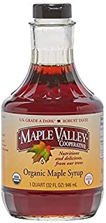 Maple Valley 32 oz. Organic Maple Syrup - Grade A Dark & Robust in Glass Decanter