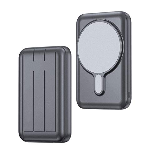A-VIDET【新版】モバイルバッテリー for Mag-Safe対応iPhone12/Pro/Pro Max/mini ワイヤレス充電 10000mAh 大容量 15W充電 軽量 小型 磁気式 有線無線充電 急速充電対応 携帯バッテリーマグネット内蔵 (ダークグレー)