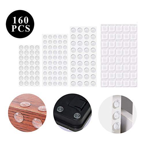 YeeStone Schutzpuffer Möbelpuffer 160 Stück Anschlagdämpfer Anschlagpuffer Elastikpuffer Gummi-Stoßfänger Türpuffer Transparent Selbstklebend - für Möbel,Tür, Notebook usw. (4 Größen)