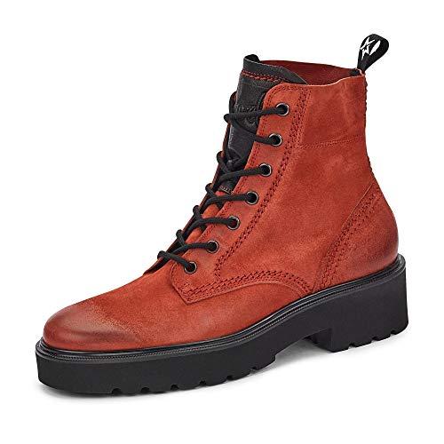Paul Green Damen Boots 9716-057 Nubukleder Schnürung Frotteefutter Blockabsatz, Groesse 38 1/2, rot
