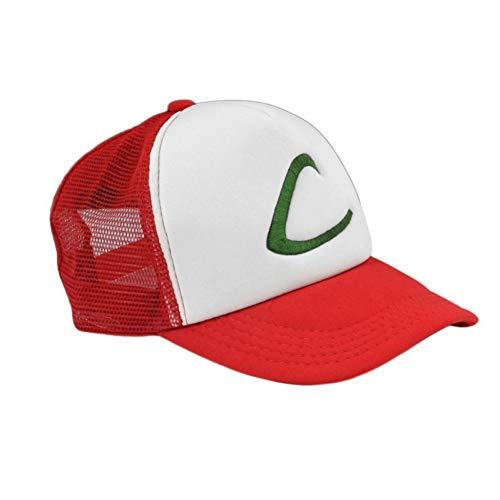 Fnito Baseball Cap Buchstabe C Ash Ketchum Unisex Erwachsenen Trucker Hut Baseball Snapback Cap Trainer Hut für Erwachsene Bestickt