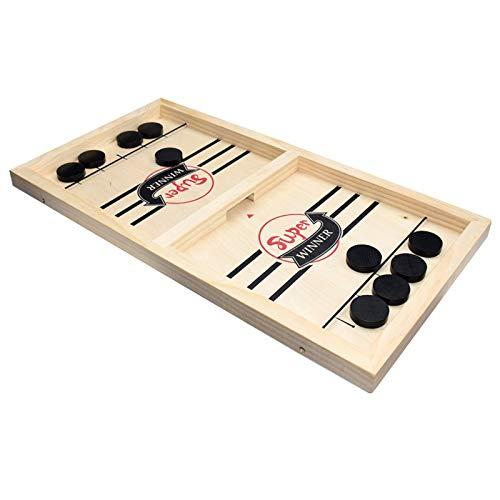 Jeu de société Rapide Adulte Sling Puck Game Jeu de Palet à Fronde en Bois Jeu de rondelle de Table air Hockey Jeu de Bataille Catapult Board Game Portable pour Parent-Enfant (Adulte)