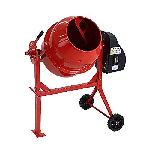 コンクリートミキサー 赤 練上量60L ドラム容量120L 電動 モーター式 100Vモーター 混練機 攪拌機 かくはん機 コンクリート モルタル 堆肥 肥料 飼料 園芸 タイヤ 車輪 キャスター ミキサー 攪拌 かくはん 混錬 混ぜる 練る レッド RE