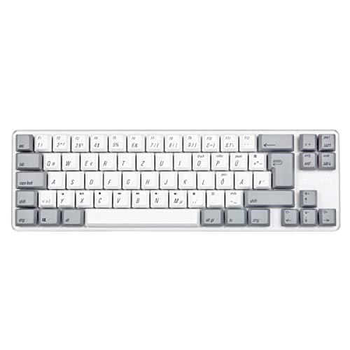 Qisan Mechanische Gaming-Tastatur PBT-Keycaps 69 Tasten Gateron Roter Schalter Weißes Hintergrundlicht DE Layout Gaming-Tastatur-Weiß Grau Combo