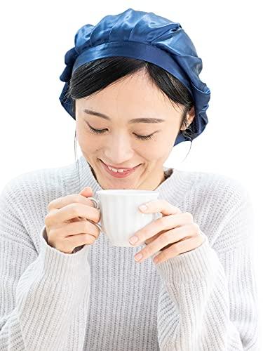 シルクナイトキャップシルク選べるカラー天然シルク100%ヘアキャップロングヘア紐付き(L,ネイビー)