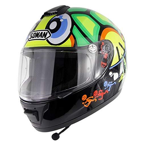 Casco Moto Integral,Casco De Moto Scooter Para Mujer Hombre Adultos Con Integrado Bluetooth Micrófono Visera | DOT Homologado C,XL