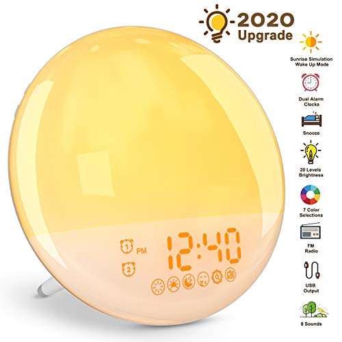 YISSVIC Wake Up Light Luces Despertador LED 20 Niveles de Brillo 16 Niveles de Ajuste de Volumen 8 Sonidos 7 Luces de Colores 2 Alarmas con Radio FM y Función Snooze