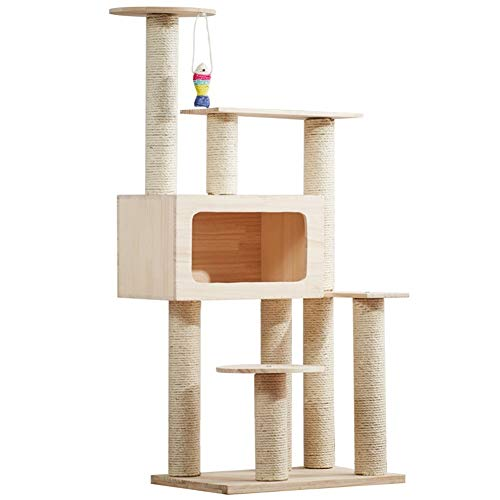XinQing-Parque infantil para gatos 53.1' Multi-Nivel de Actividad del gato Árbol, Torre de los Gatos moderna con grandes condominio con cubiertos-sisal arañar puestos, colgantes sisal juguete de pesca