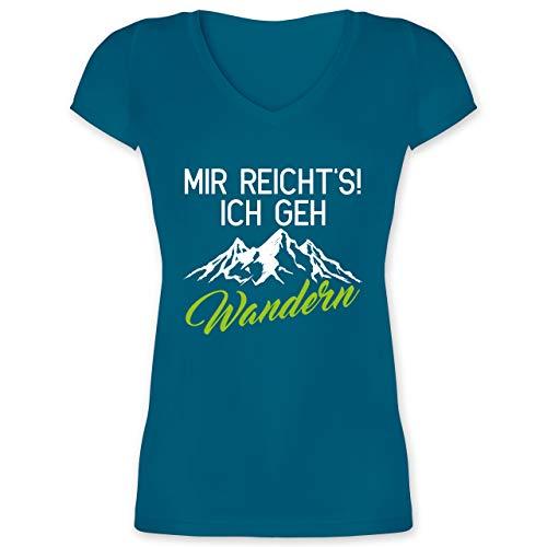 Hobby Outfit - Mir reichts ich GEH wandern weiß/grün - M - Türkis - t- Shirt Damen wandern - XO1525 - Damen T-Shirt mit V-Ausschnitt