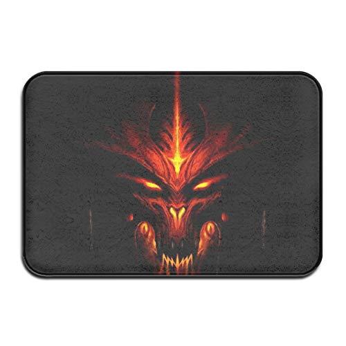 Devil Smile - Felpudo antisuciedad para interior y exterior, 40 x 60 cm, lavable, antideslizante, resistente y absorbente, para entrada