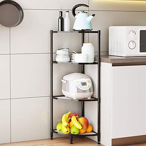 PROHOUS Eckregal küche mit 4 Ebenen Multifunktionsregal aus Metall, Küchenregal mit Einstellbarer...
