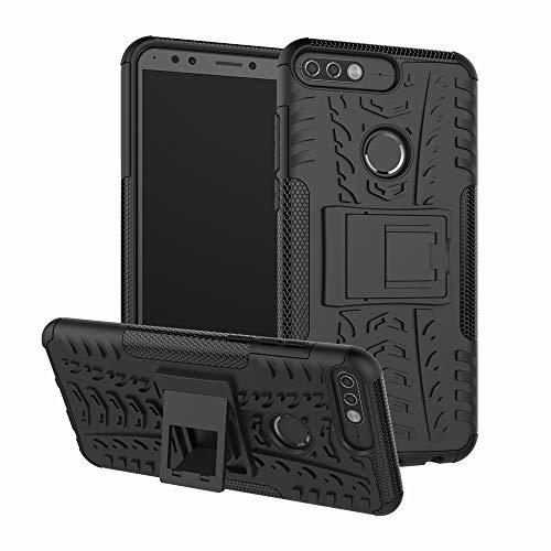 betterfon | Outdoor Handy Tasche Hybrid Case Schutz Hülle Panzer TPU Silikon Hard Cover Bumper für Huawei Y7 (2018) / Honor 7C Schwarz