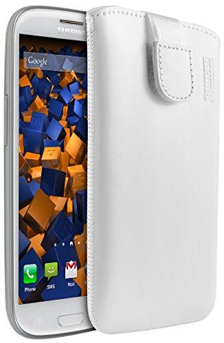 mumbi Echt Ledertasche kompatibel mit Samsung Galaxy S3 / S3 Neo Hülle Leder Tasche Case Wallet, weiss