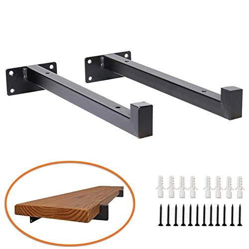 Hosko plankdrager, plankhouders van ijzer plank ondersteuning wandconsole plankhouder zware lastdrager voor wandplank Warehouder, 2 stuks zwart 25CM (A-Typ)