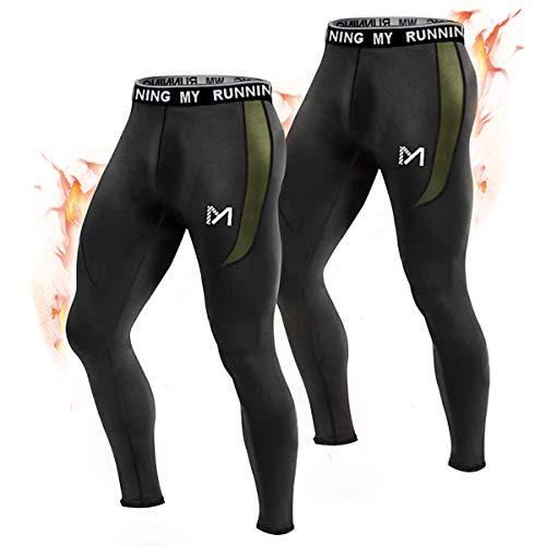 MEETYOO Kompressionshose Herren, Sport Leggings Atmungsaktiv Fitness Strumpfhosen Funktionswäsche Pants Unterhose Lang für Laufen Wandern Radfahren (Schwarz + Schwarz-Vlies, L)
