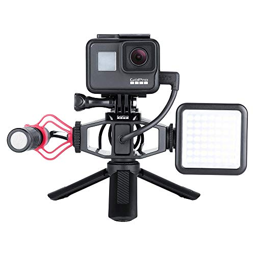 SSSabsir VIJIM GP-1 GoPro Vlogging Setup Bracket with 2 Cold Shoe Mic Mount Tripod Adapter for OSMO ACTION