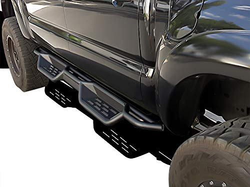 APS Black 6 Inches Tubular Drop Down Style Nerf Bars Running Boards Compatible with Toyota Tacoma 2005-2021 Double Crew Cab