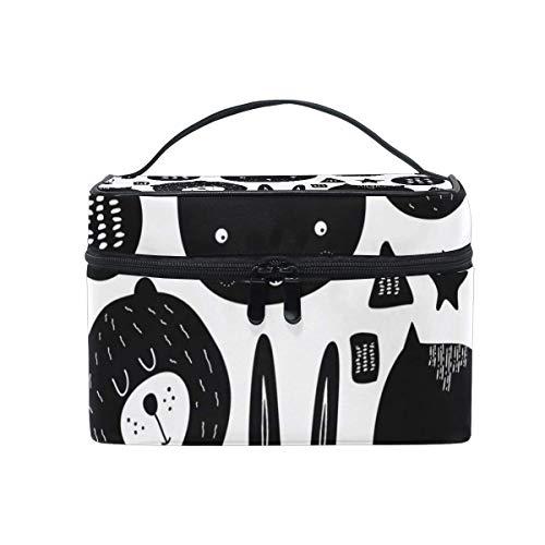 Noir Animal Ours Lapin Chat Visage Motif Sac Cosmétique Trousse De Toilette Voyage Maquillage Cas Poignée Poche Multi-Fonction Organisateur pour Les Femmes