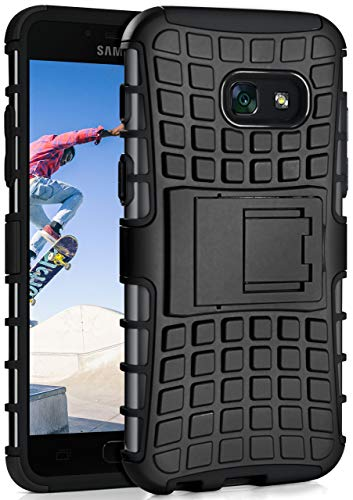 MoEx Samsung Galaxy A3 (2017) Hülle Silikon Hard-Case Schwarz [OneFlow Outdoor Back-Cover] Extrem Stoßfest Schutzhülle Grip Handyhülle für Samsung Galaxy A3 2017 Case Rückseite Tasche