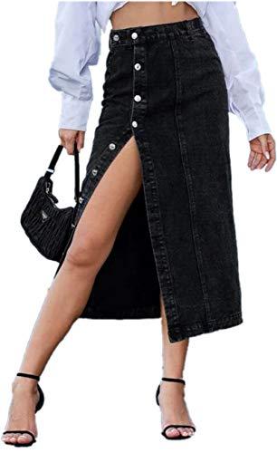 ELSTAROA Women's Casual High Waisted Solid Button Up Denim Jean Skirt Black