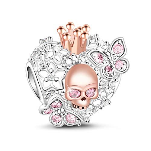 Gnoce 925 Sterling Silber Schädel Königin Charm mit Rosa CZ Steine von Schmetterlings ,,Schönheit des Todes'' Damen Charm passt für alle Armbänder und Halsketten