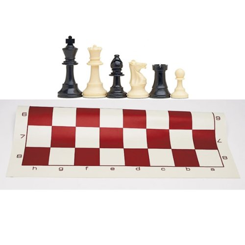 WE Games Best Value Tournament Chess Set with Solid Plastic Pieces and Burgundy Roll-up Vinyl Chess Board